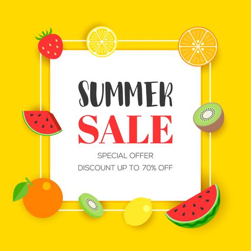 Summer sale with tropical fruit, vector illustration