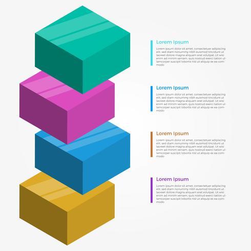 Modello di vettore di elementi 3d astratta piana infografica