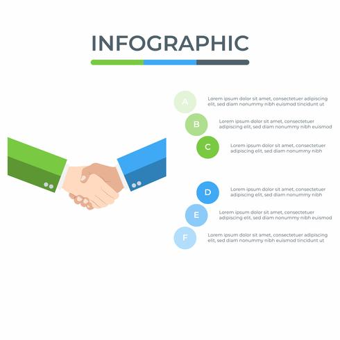 Infografica di affari Diagramma di infographics con l'uomo d'affari stretta di mano. modello per la presentazione. concetto di partner.