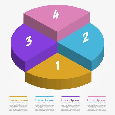 Modello di vettore di infografica cerchio 3D piatto