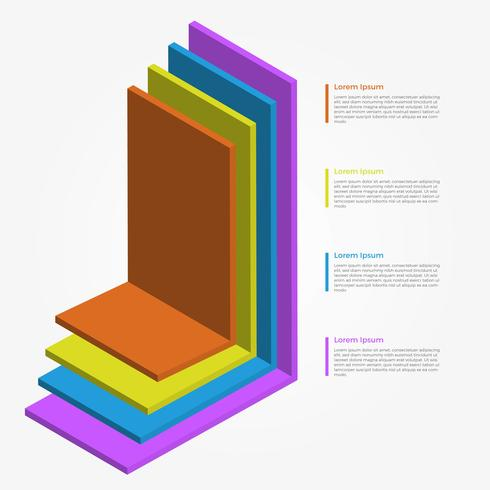 Modello di vettore di elementi 3d colorato piatto infografica