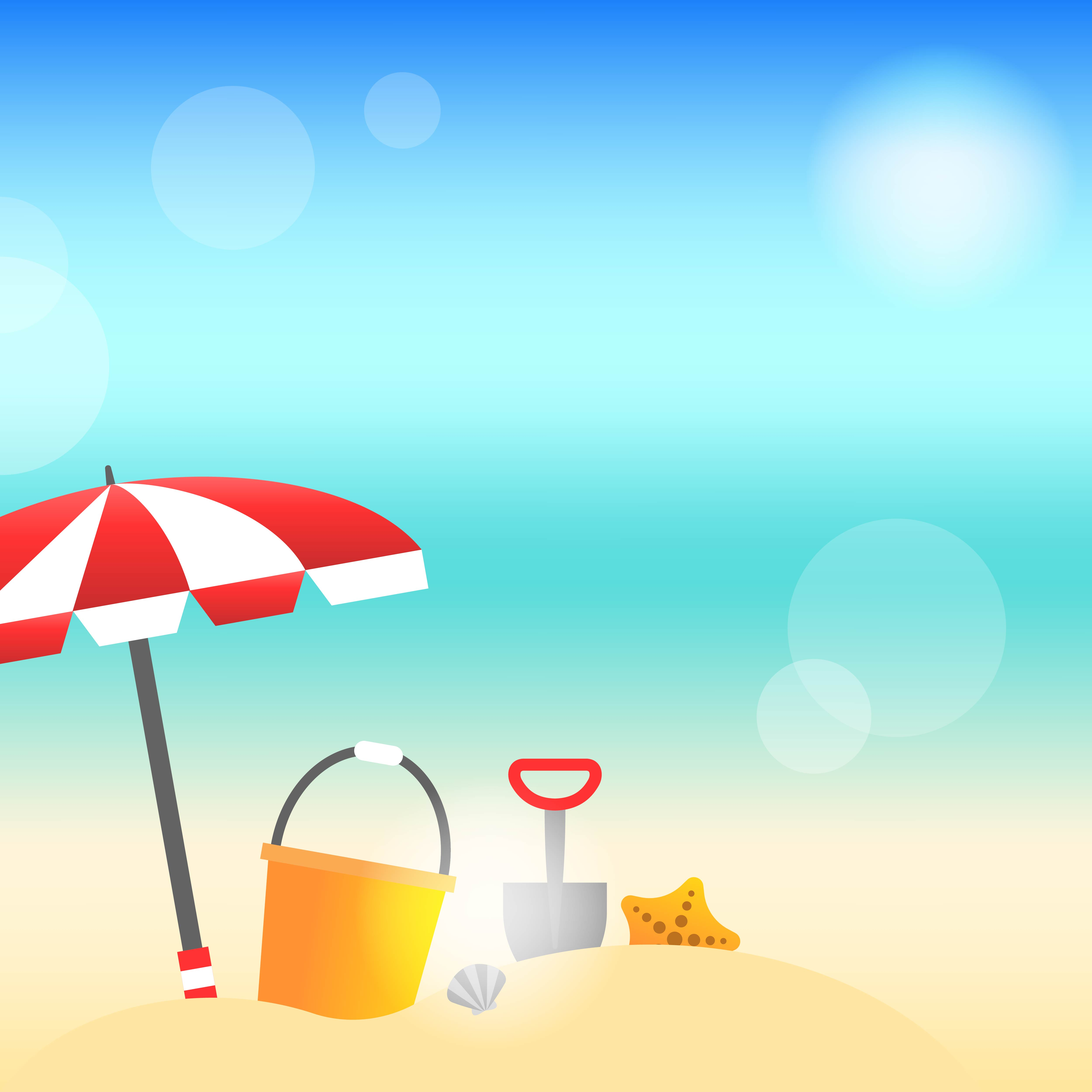 Summer time, Summer beach background vector illustration ... (5000 x 5000 Pixel)
