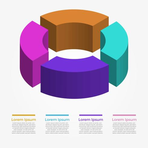 Modello di vettore di elementi cerchio infografica 3D piatto