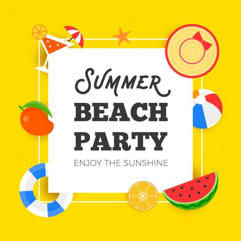 Summer time, Summer beach party vector illustration