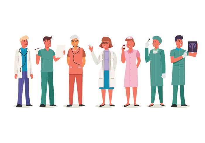 Ensemble de travailleurs médicaux masculins et féminins