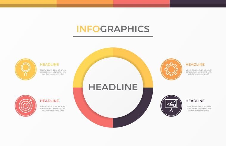 Infografía moderna 3d plantilla de negocio.
