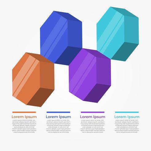 Modèle de vecteur d'éléments hexagonaux 3D plats infographiques