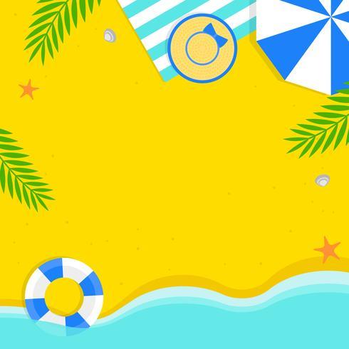 Horario de verano, ilustración de vector de fondo de playa de verano