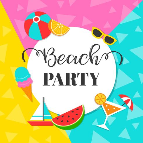 Colorful Summer Beach party background, vector illustration