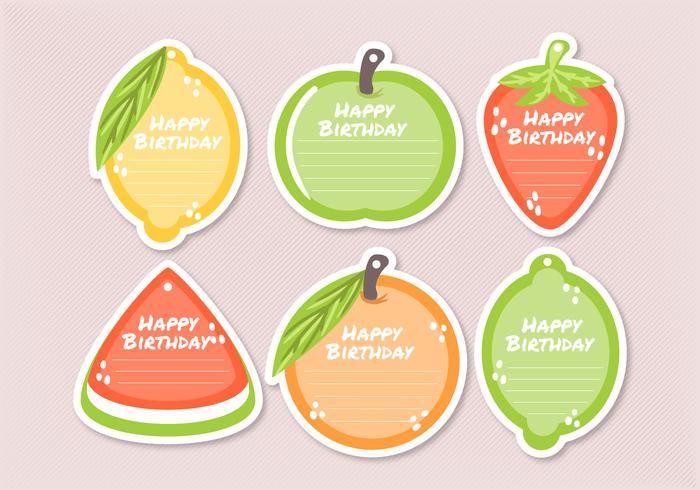 Modèles de balises de cadeau de fruits de vecteur
