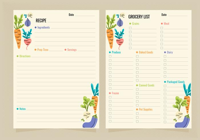 vector recipe and grocery list templates