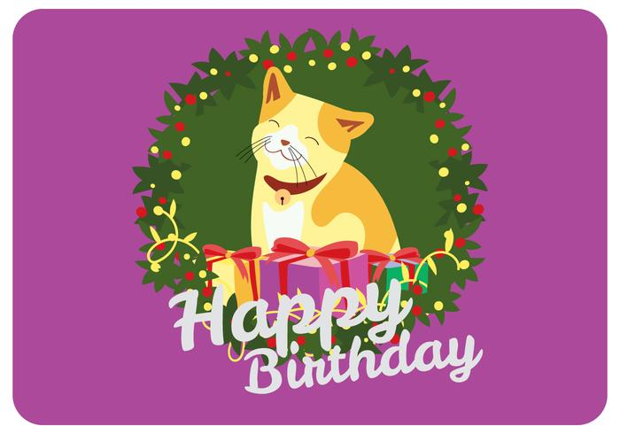 Happy Birthday Greeting from Smilling Cat Vector