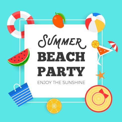 Zomertijd, zomer strand partij vectorillustratie