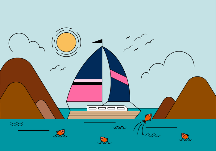 Free Boat Landscape Vector