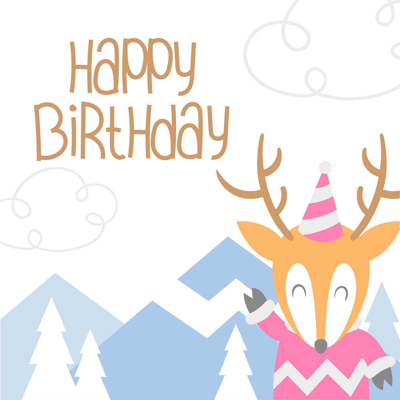 Happy Birthday Animal Deer Cartoon Greeting - Download ...