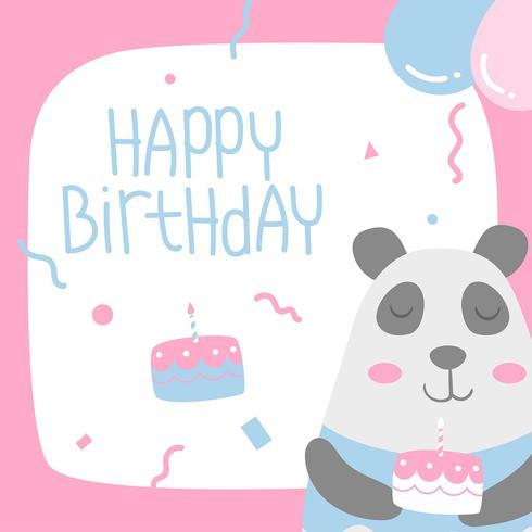 Joyeux anniversaire animaux Panda Cartoon Greeting