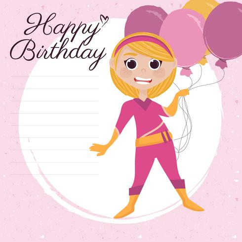 Vector Superhero Happy Birthday Card