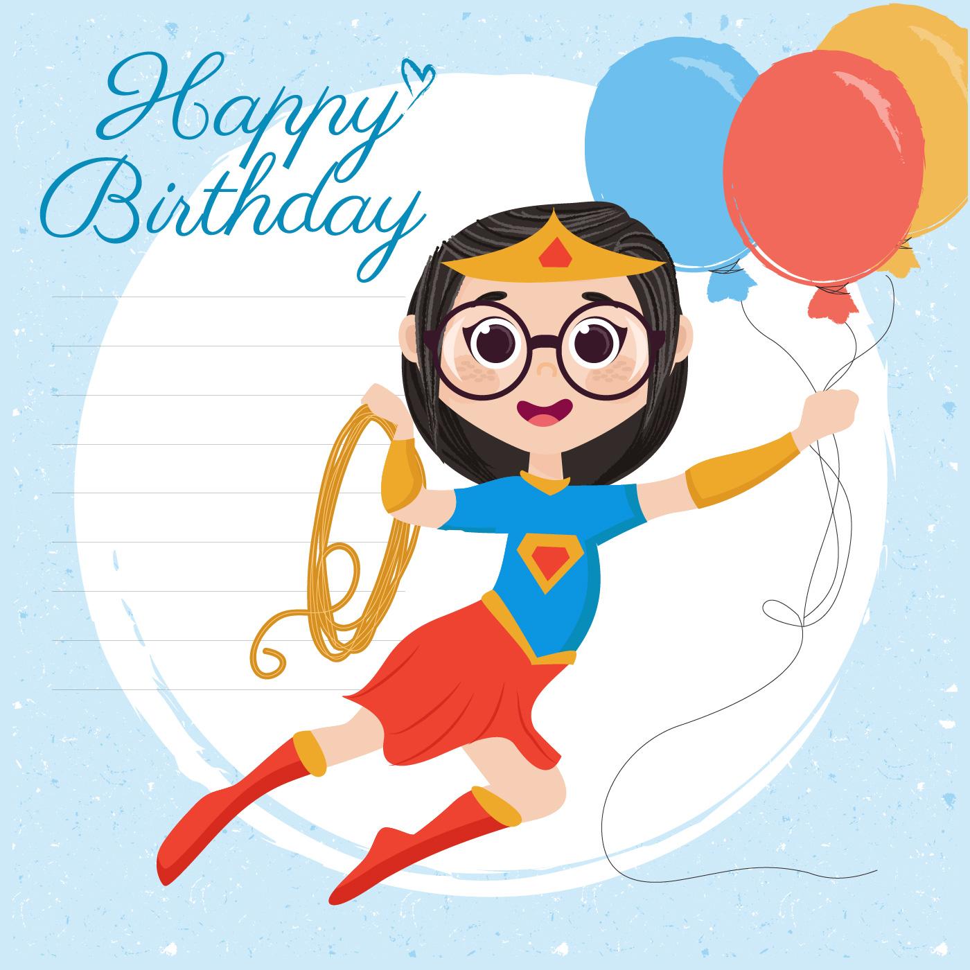 vector superhero happy birthday card 541878  download