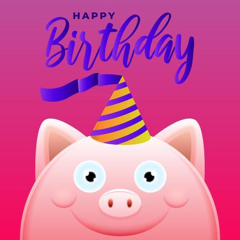 Carte de voeux joyeux anniversaire avec illustration vectorielle cochon mignon