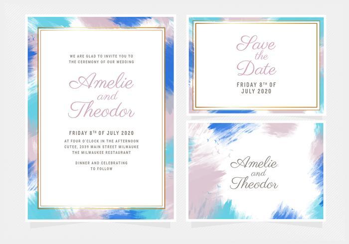 Vector kleurrijke bruiloft uitnodiging sjabloon