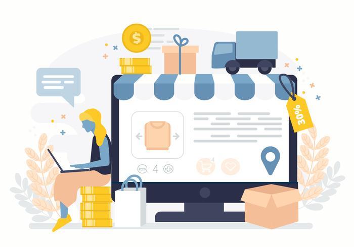 Vector Online Shop Illustration