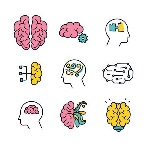 Doodled iconos del cerebro humano vector