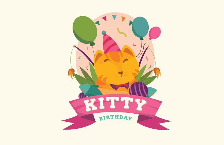 Illustration vectorielle de chat mignon Pet Brithday