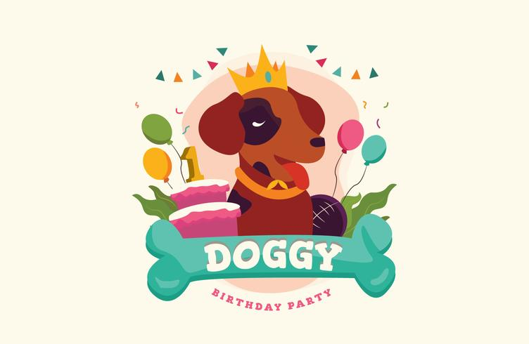 Pet Lover Animal Birthday Vector Illustration