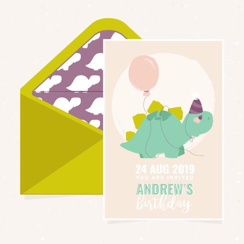 Vector leuke Dino Birthday Party uitnodiging sjabloon