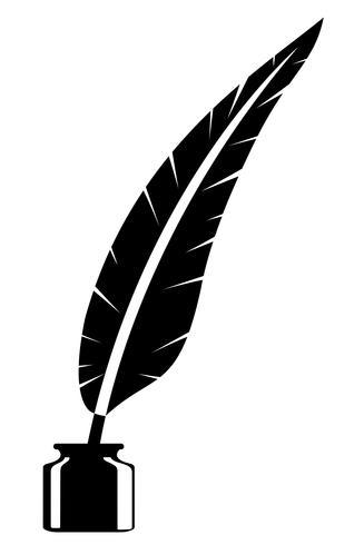 Pluma y tintero antiguo icono vintage retro stock vector ilustración