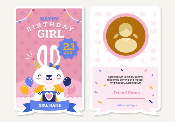 Cute Animal Birthday Invitation Vector Illustration