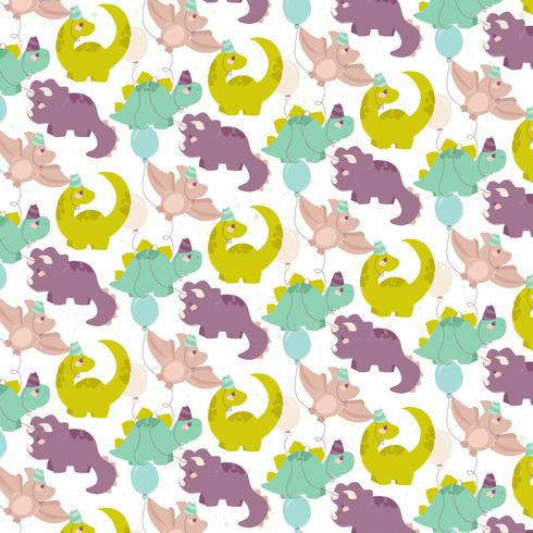 Vector Cute Dino Seamless Pattern