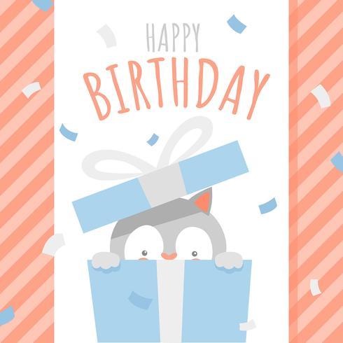 Happy Birthday Animal Cat Surprise Box Greeting