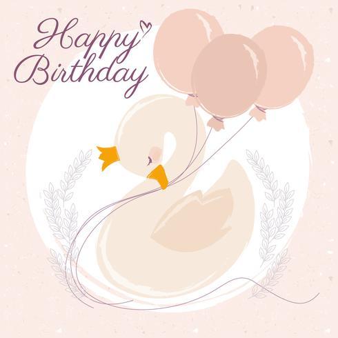 Cartão de feliz aniversario da cisne do vetor