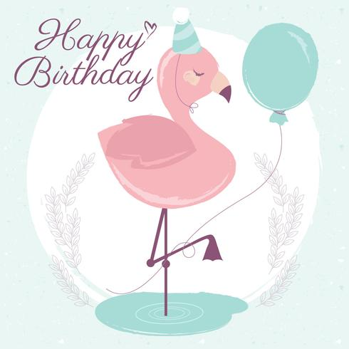 Vector Flamingo feliz cumpleaños tarjeta