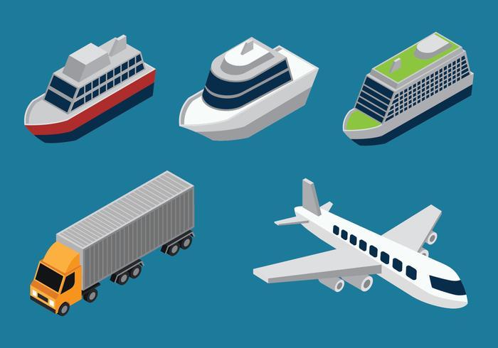 Isometric Transportation Clip Art Set