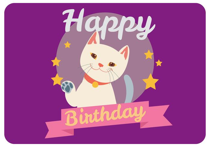 Happy Birthday Giving By a Cute Cat Vector