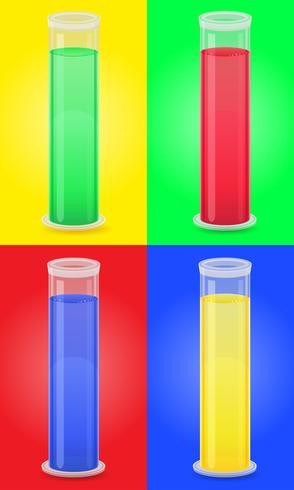 Tubo de ensayo de vidrio con ilustración de vector líquido de color