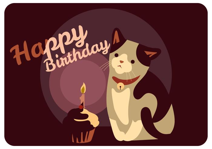 Cat and Birthday Cup Cake Vector
