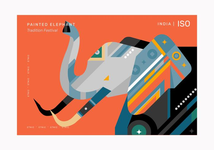 Abstract Geometric Elephant Pattern Poster Vector Illustration