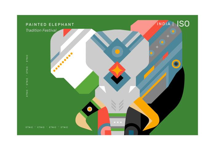 Abstract Geometric Pattern Elephant Poster vector Illustration