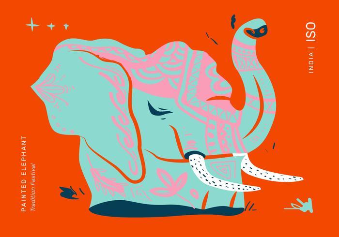 Illustrateur de vecteur affiche du festival des éléphants peints
