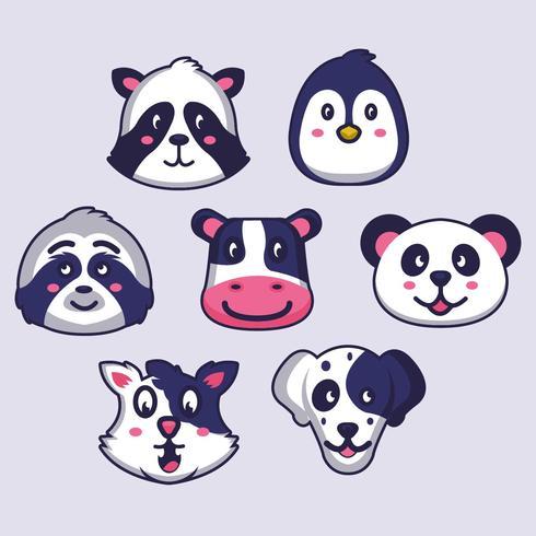 Caras de animales vector