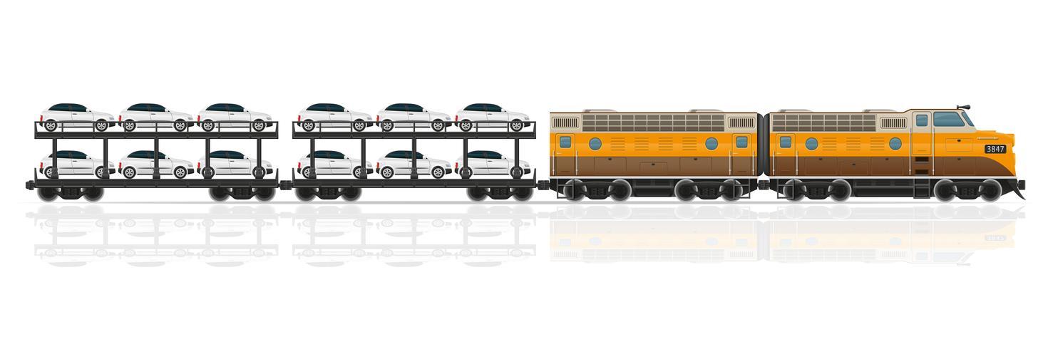 järnväg tåg med lokomotiv och vagnar vektor illustration