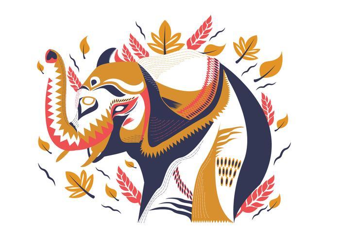 Illustration vectorielle décoratif abstrait éléphant peint