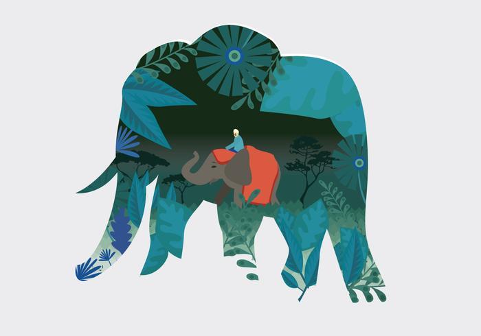 Illustration vectorielle de fête des éléphants peints