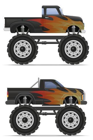 monster truck car pickup vector illustration