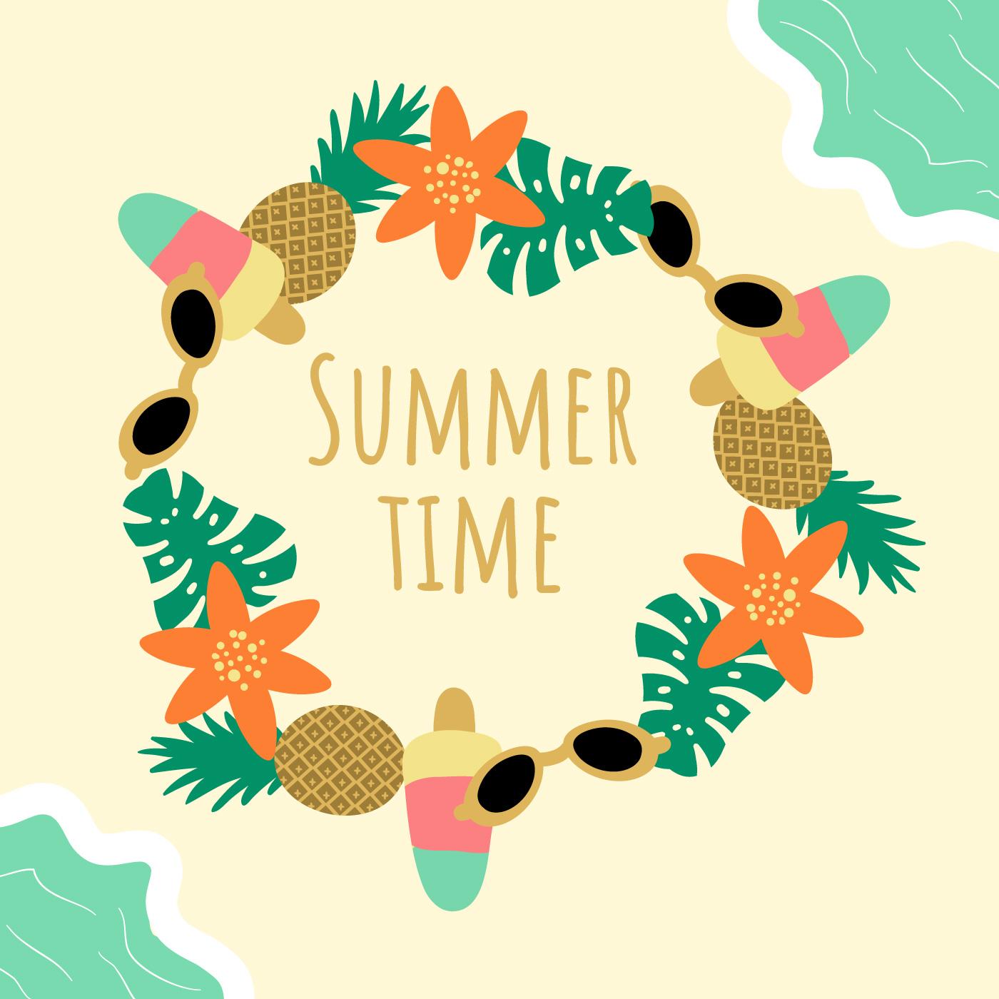Cute Summer Background Vector 542133 - Download Free ... (1400 x 1400 Pixel)