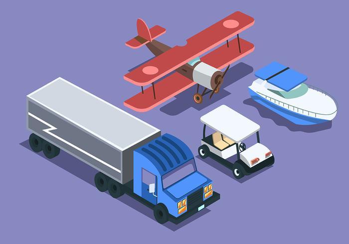 Transporte isométrico clip art conjunto sobre fondo púrpura