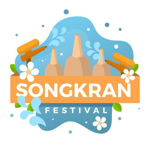 Ilustração em vetor plana Songkran Festival
